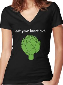 eat your heart out. (artichoke)                   <white text> Women's Fitted V-Neck T-Shirt