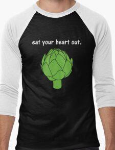 eat your heart out. (artichoke)                   <white text> Men's Baseball ¾ T-Shirt