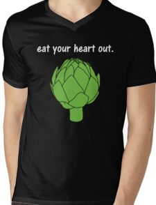 eat your heart out. (artichoke)                   <white text> Mens V-Neck T-Shirt