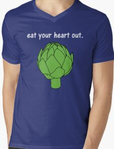 eat your heart out. (artichoke)                   <white text> Mens V-Neck T-Shirt