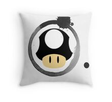 Black Super Mushroom Throw Pillow