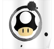 Black Super Mushroom Poster