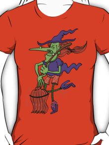 Crazy Witch Dancing with her Broomstick T-Shirt