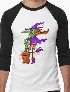 Crazy Witch Dancing with her Broomstick Men's Baseball ¾ T-Shirt