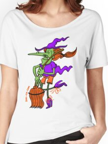 Crazy Witch Dancing with her Broomstick Women's Relaxed Fit T-Shirt