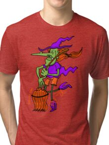 Crazy Witch Dancing with her Broomstick Tri-blend T-Shirt