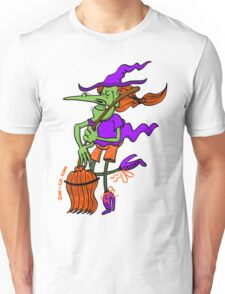 Crazy Witch Dancing with her Broomstick Unisex T-Shirt