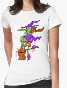 Crazy Witch Dancing with her Broomstick Womens Fitted T-Shirt