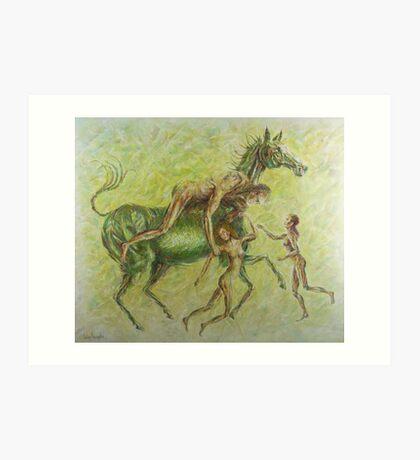 Oil painting Perseus saves Andromeda Art Print