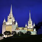 San Diego Temple Late Evening 20x24 by Ken Fortie