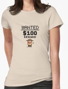 8-bit Wanted Poster Womens Fitted T-Shirt