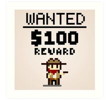 8-bit Wanted Poster Art Print