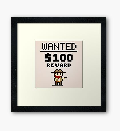 8-bit Wanted Poster Framed Print