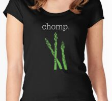chomp. (asparagus)  <white text> Women's Fitted Scoop T-Shirt