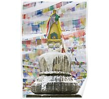 Stupa with prayer flages Poster