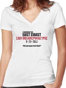 EARTHQUAKEPOCALYPSE 2011 Women's Fitted V-Neck T-Shirt