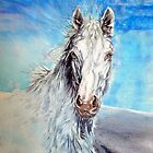 White and Wild II Wild White Horse Acrylic Painting by jlkinsey