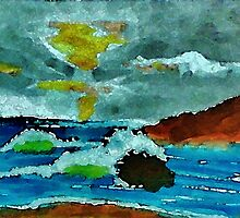 Stormy seas and sky, watercolor by Anna  Lewis