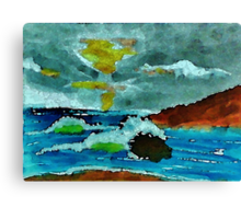 Stormy seas and sky, watercolor Canvas Print