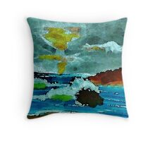 Stormy seas and sky, watercolor Throw Pillow