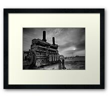 An irrigation engine in black n white for atomsphere Framed Print