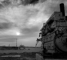 An irrigation engine, black n white for mood  by raceman
