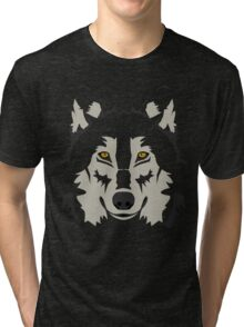 Simple Grey Wolf Vector Full Design Tri-blend T-Shirt