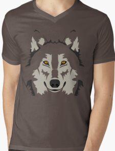 Simple Grey Wolf Vector Full Design Mens V-Neck T-Shirt
