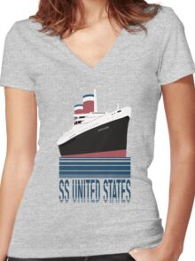 The SS United States - Bon Voyage Women's Fitted V-Neck T-Shirt