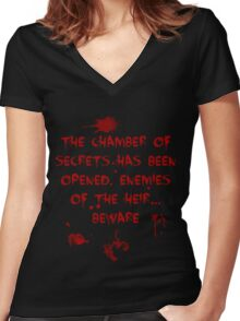 The Chamber of Secrets has been opened... Women's Fitted V-Neck T-Shirt
