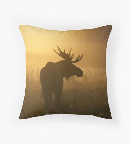 Bull Moose in Fog Throw Pillow