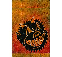 Evil Demon Devil Pig Monster Smile stencil graffiti Photographic Print