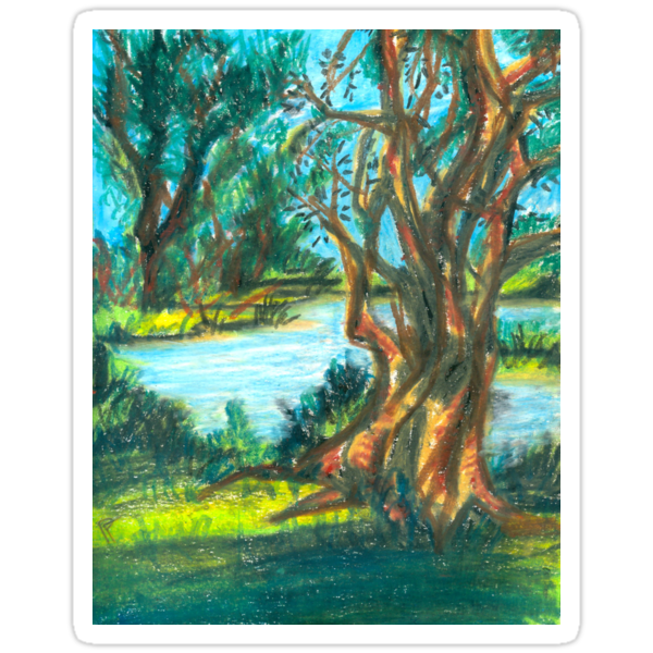 small pond with trees by HiddenStash