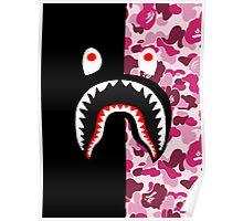 bape shark black pink Poster