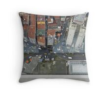 Beneath my feet are buildings scraping the Sky. Throw Pillow