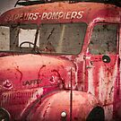 Vintage French Fire Engine with texture by Carol Trim