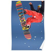 Snowboard jumping on Vogel mountain Poster