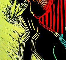 "Behind the Curtain (Woodcut Chine Colle) by Belinda ""BillyLee"" NYE (Printmaker)"