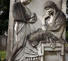 Norwood cemetary: Sculpture: 2 carved relief figures -(220811)- Digital photo by paulramnora