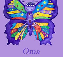 OMA with Colourful Yoga Butterfly by Monica Batiste
