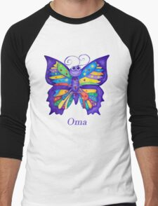 OMA with Colourful Yoga Butterfly Men's Baseball ¾ T-Shirt