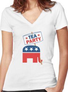 Tea Party Republican Shirt Women's Fitted V-Neck T-Shirt