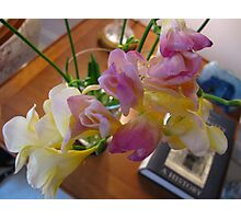 Freesias on the side table Photographic Print