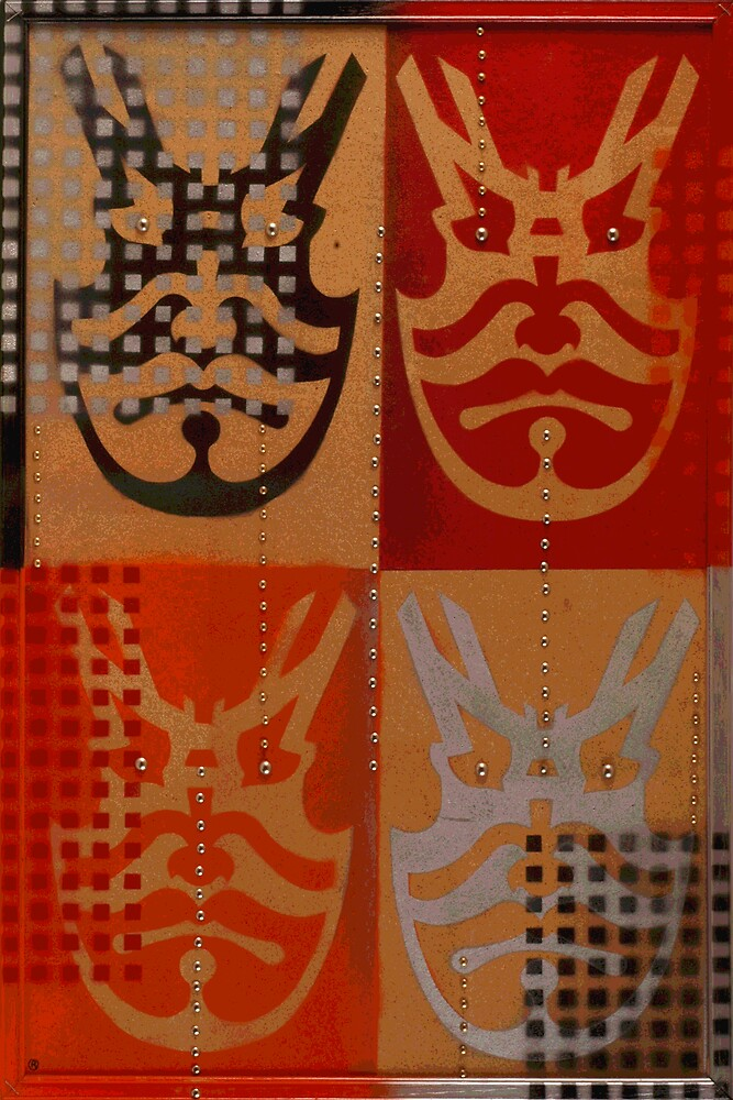 Japanese Kabuki Warrior Mask Matrix graffiti stencil by rolandhill90