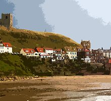 Whitby Abbey and beach from pier by Robert Huntley