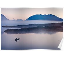 Canoeing on a Foggy Morning Poster