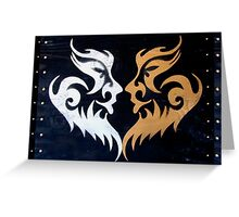 Tribal Burning Man Tattoo Stencil Graffiti Masks Greeting Card
