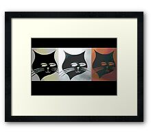 Three Sly Black Cats in Heat Framed Print