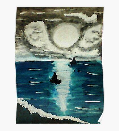 Boats enjoying a full moon, watercolor Poster