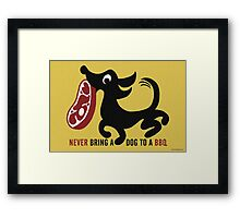 Barbecue Theft by a Steak Loving Dog Framed Print